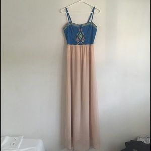 Maude Maxi Blue Peach Sleeveless Dress Size Small